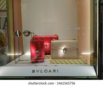 Bangkok, Thailand. July 14, 2019 - BVLGARI luxury handbag window display in shopping mall. Bvlgari is an Italian jewelery and luxury product brand for women.