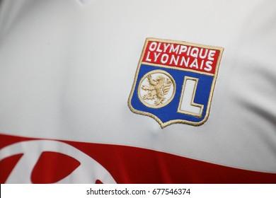 BANGKOK, THAILAND - JULY 14: The Logo of Olympique Lyonnais  Football Club on the Jersey on July 14,2017.