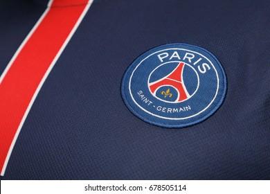 BANGKOK, THAILAND - JULY 14: The Logo of Paris Daint Germain Football Club on the Jersey on July 14,2017.