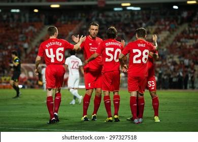 BANGKOK THAILAND JULY 14 :Rickie Lambert (L2) of Liverpool celebrates during the international friendly match Thai All Stars and Liverpool FC at Rajamangala Stadium on July14,2015 in,Thailand.