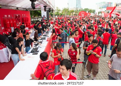 BANGKOK THAILAND JULY 14 :Unidentified Thai fan Liverpool FC supporters during the international friendly match Thai All Stars and Liverpool FC at Rajamangala Stadium on July14,2015 in,Thailand.