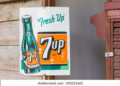 BANGKOK, THAILAND - JULY 14 : vintage retro poster of 7up Cola advertisement with copyspace on July 14, 2017 in Bangkok, Thailand