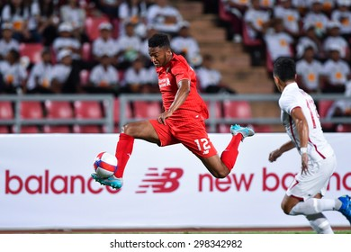 BANGKOK THAILAND JULY 14:Joe Gomez(RED) of Liverpool contols the ball during the international friendly match between Thai All Stars and Liverpool FC at Rajamangala Stadium on July14,2015 in,Thailand
