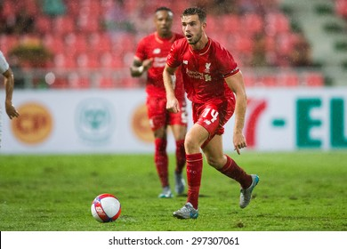 BANGKOK THAILAND JULY 14:Jordan Henderson  of Liverpool in action during the international friendly match Thai All Stars and Liverpool FC at Rajamangala Stadium on July14,2015 in,Thailand.
