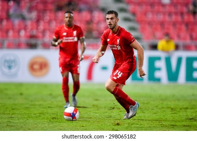 BANGKOK THAILAND JULY 14:Jordan Henderson of Liverpool run with the ball during the international friendly match Thai All Stars and Liverpool FC at Rajamangala Stadium on July 14,2015 in,Thailand