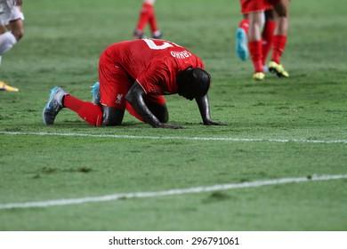 BANGKOK THAILAND JULY 14:Mamadou Sakho of Liverpool celebrates after scoring during friendly match Thailand All-Stars and Liverpool at Rajamangala Stadium on July 14, 2015 in Bangkok,Thailand.