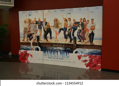 Bangkok, Thailand - July 15, 2018: Standee of A Musical Romantic Comedy Movie Mamma Mia! Here We Go Again (Mamma Mia 2) displays at the theater