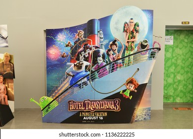 Bangkok, Thailand - July 15, 2018: Beautiful Standee of an Animation Hotel Transylvania 3: Summer Vacation or A Monster Vacation displays at the theater.