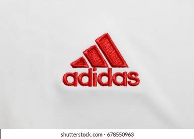 BANGKOK, THAILAND - JULY 15: The  Logo of  Adidas  on Football Jersey on July 15,2017 in Bangkok Thailand.