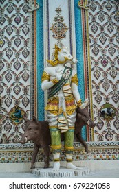 BANGKOK - THAILAND - July 15 : Traditional Thai style sculptures and painting in church under decoration of Wat Pariwat on July 15, 2017 in Bangkok, Thailand.