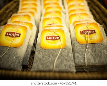 Bangkok, Thailand - July 16, 2016: Lipton Tea bags in the basket. Lipton is the famous brand in Tea industry and they select and blend tea from around the world.