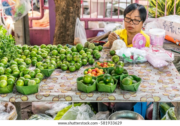 Bangkok, Thailand - July 16, 2016 : Thai exotic fruits (lemon) in market. Like the charming people, exotic fruit greets you on almost every corner in Thailand.
