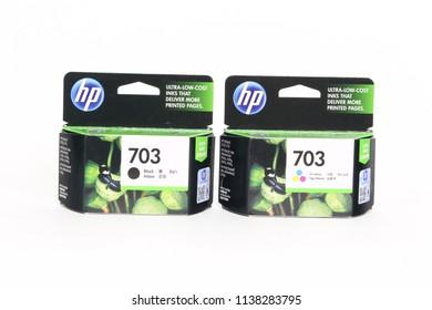 BANGKOK, THAILAND- July 16, 2018 : Ink display at a local retail location in Thailand. HP ink jet Printer and Ink Supplies, HP injet No.703 Black cartridge, Ues for Printer HP  K209A / K109A
