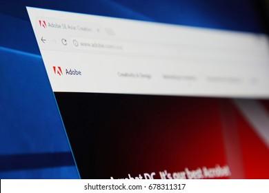 BANGKOK, THAILAND - JULY 16: Adobe Creative Cloud Website on the Screen  on July 16,2017.