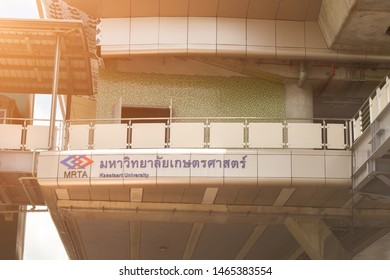 BANGKOK, THAILAND - July 17 , 2019: Exterior view of Kasetsart University MRT station in the MRT Green Line, a rapid transit lines of the Mass Rapid Transit Authority of Thailand (MRTA) in Bangkok.