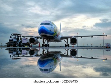 Bangkok Thailand July 18 2015:Bangkok Airways A320 Parking after rain in the morning at Suvanabhumi Airport, Thailand