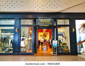 Bangkok, Thailand - July 18, 2017 : Entrance To A Polo Ralph Lauren Shop At Central World. Polo Ralph Lauren Designs, Markets And Sells Fashion Products To Customers Worldwide
