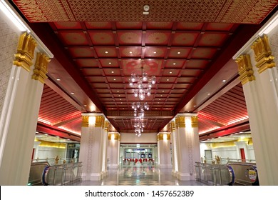 Bangkok, Thailand - July 18, 2019: Interior of platform floor of the 'Sanam Chai' MRT station.