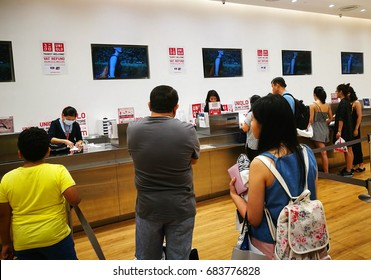 Bangkok, Thailand - July 18 : Inside Of Uniqlo Store. Uniqlo Co., Ltd. At Siam Paragon on July 18 , 2017. Uniqlo Co., Ltd. is a Japanese Casual Wear Designer, Manufacturer And Retailer