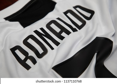 BANGKOK, THAILAND -JULY 18:  The  Name of Cristiano Ronaldo on Juventus Jersey on July 18,2018.