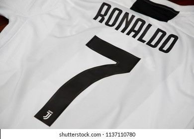 BANGKOK, THAILAND -JULY 18:  The  Name of Cristiano Ronaldo on Juventus Jersey on July 18,2018.