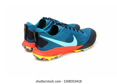 BANGKOK, THAILAND - July 19, 2019: Nike Air Zoom Terra Kiger 5 men's running shoes pair with isolated on white background