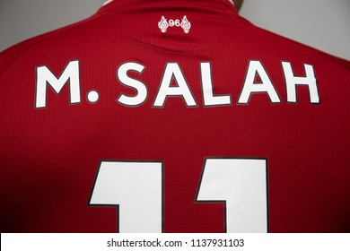 BANGKOK, THAILAND -JULY 19:  The  Name of Mohammed Salah on Liverpool Jersey on July 19,2018.
