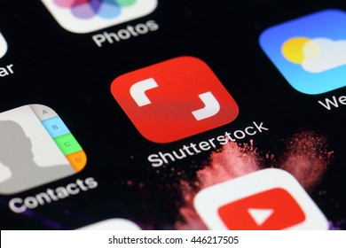 BANGKOK, THAILAND -JULY 2, 2016:Shutterstock Application on IPhone screen on July 2,2016