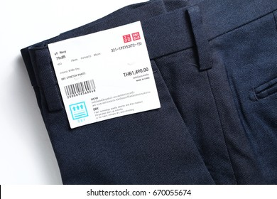BANGKOK, THAILAND - JULY, 2: A collection formal business trouser brand from japan represent japanese apparel products and fashion retail business on July 2, 2017 in Bangkok Thailand.