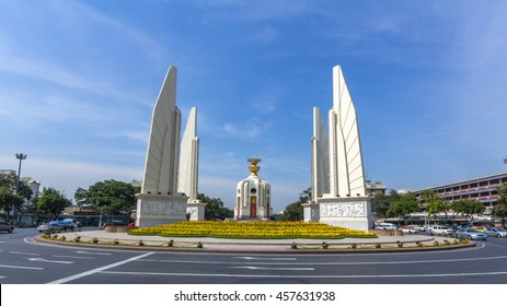BANGKOK, THAILAND - JULY 20, 2016: Democracy Monument in Bangkok, Thailand. It occupies a traffic circle on the wide east-west Ratchadamnoen Klang Road, at the intersection of Dinso Road.