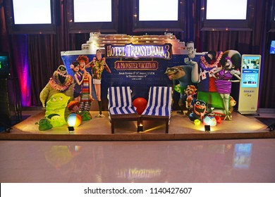 Bangkok, Thailand - July 20, 2018: Beautiful Standee of an Animation Hotel Transylvania 3: Summer Vacation or A Monster Vacation displays at the theater.