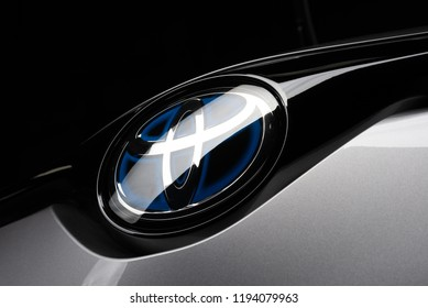 BANGKOK, THAILAND – JULY, 20 2018: Closeup of Toyota logo on brand new Toyota CHR Hybrid 2018 model