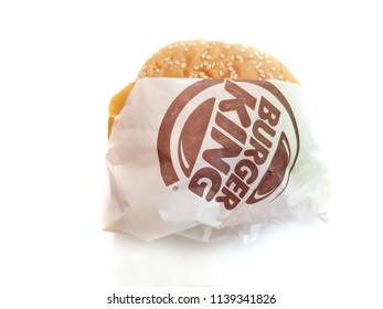 Bangkok, Thailand - July 20, 2018:Hamburger Brand Name: Bergen King.Burger King of hamburger fast food restaurants.Junk food
