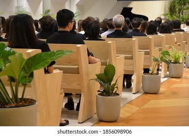 Bangkok, Thailand – July 20, 2020: Bangkok Adventist Chinese Church (Permsin), Church of Seventh-day Adventists in Bangkok, Thailand, Asia