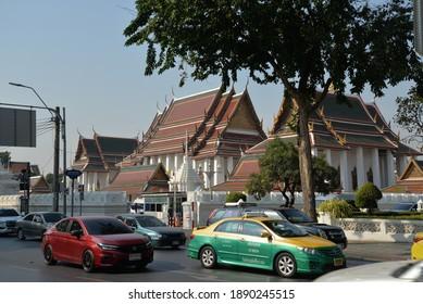 Bangkok, Thailand – July 20, 2020: Loha Prasat (Wat Ratchanatdaram Worawihan) Buddhist Temple or Metal Castle in Bangkok, Thailand, Asia