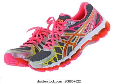 BANGKOK, THAILAND - JULY 2014 : ASICS Gel Kayano 20 Running shoes on 25 July