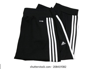 BANGKOK, THAILAND - JULY 2014 : Folded Adidas ClimaLite cotton cuffed workout pants on 12 July 2014 in Bangkok, Thailand. ClimaLite is a synthetic fabric that wicks sweat for easy evaporation.