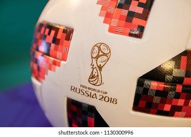 BANGKOK, THAILAND- JULY 2018: The Official World Cup 2018 Adidas Telstar Football on July 9,2018