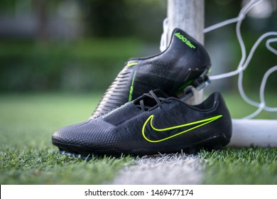 "Bangkok / Thailand - July 2019 : Nike launch ""Phantom Venom"" in Black which is new colorway. This model is design for striker and attacker. Presented by Harry Kane, Marcus Rashford and Lewandowski."