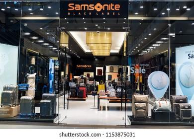 Bangkok, Thailand - July 21, 2018 : Exterior view of Samsonite luggage store at Central World shopping mall