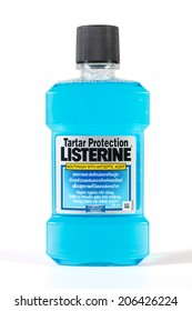 Bangkok, THAILAND - July 22, 2014: Listerine isolated on white background. Listerine is a brand of antiseptic mouthwash product.