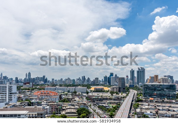 Bangkok, Thailand - July 22, 2016 : Cityscape and transportation in daytime of Bangkok city Thailand. Bangkok is the capital and the most populous city of Thailand.