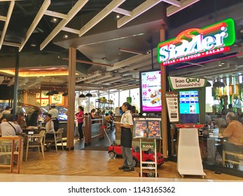 Bangkok, Thailand - July 22, 2018 : People in Sizzler Restaurant. Sizzler is an famous restaurant in Thailand