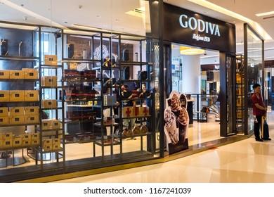 Bangkok, Thailand - July 22, 2018 : Exterior view of a Godiva chocolate store at Siam Paragon
