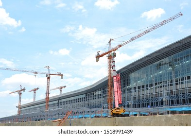 Bangkok, Thailand – July 22, 2019; Construction site of Bang Sue Central Station, will become Thailand's new railway hub.