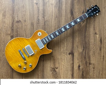 """Bangkok, Thailand - July 22, 2020 : Gibson Les Paul R9 Collector Choice 1 Replicate the """"Greeny"""" Original 1959, the main character that had been owned by Peter Green and Gary Moore for 30 years"""