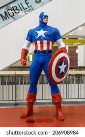 BANGKOK, THAILAND - JULY 22: Captain America model in The Superhero Past-Present Fair on July 22, 2014 at Seacon Bangkae Bangkok Thailand. The fair was held between 18-27 July 2014.