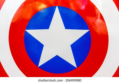 BANGKOK, THAILAND - JULY 22: Logo of Captain America on shield  in The Superhero Past-Present Fair on July 22, 2014 at Seacon Bangkae Bangkok Thailand. The fair was held between 18-27 July 2014.