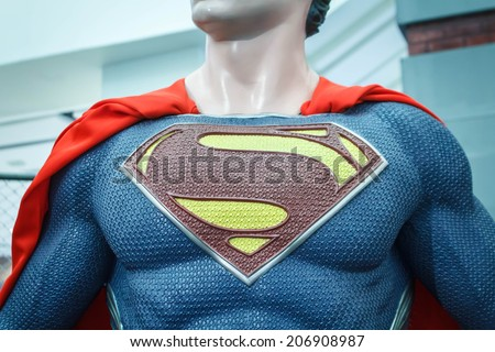 BANGKOK, THAILAND - JULY 22: Logo of Superman on model chest in The Superhero Past-Present Fair on July 22, 2014 at Seacon Bangkae Bangkok Thailand. The fair was held between 18-27 July 2014.
