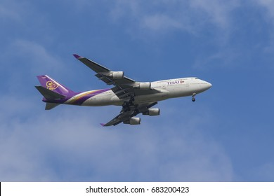 BANGKOK THAILAND - JULY 22,2017 : thai airway airbus a380 registration : hs-tgg approach for landing to savarnabhumi airport